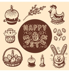Easter objects vintage collection vector