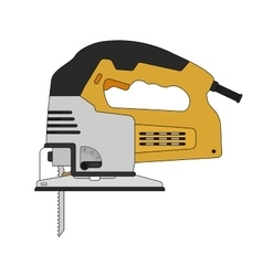 Electric carpentry jig saw tool color vector