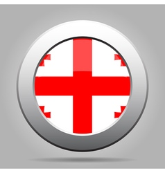 Flag of georgia shiny metal gray round button vector