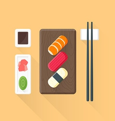 flat colored sushi set icon vector image