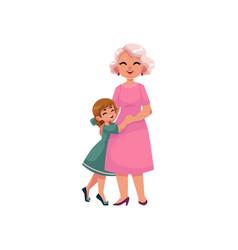 flat grandmother and small girl hugging vector image