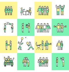 Friends icons flat line vector