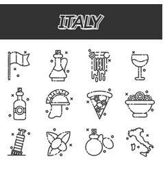 italy icons set vector image