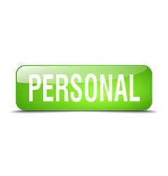 Personal green square 3d realistic isolated web vector