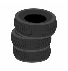 Pile of car tires cartoon icon vector image