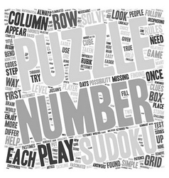 Play sudoku the easy way text background wordcloud vector
