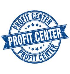 Profit center round grunge ribbon stamp vector
