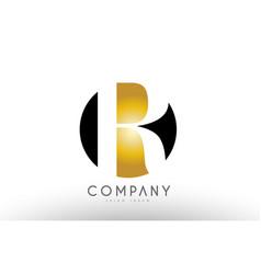 R black white gold golden letter logo design vector