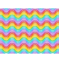 Rainbow colors dotted waves seamless pattern vector image vector image