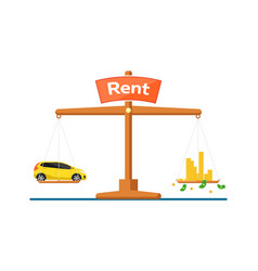 Rent car concept with car and money on scales vector