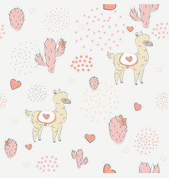 Seamless alpaca pattern with cacti vector