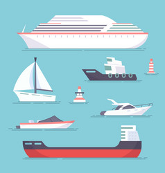 Set of marine ships boats yachts and sailing vector