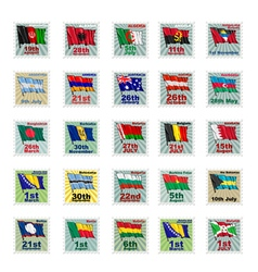 set of national stamps vector image