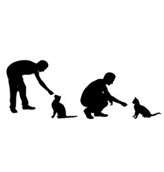 silhouettes of people feeding cats vector image vector image