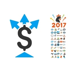 Split payment icon with 2017 year bonus pictograms vector