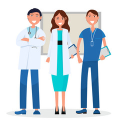 Three medical advisers with board on background vector