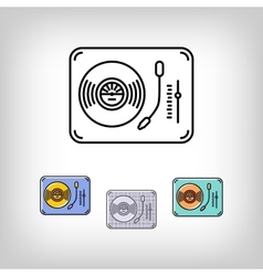 Turntable isolated line art icon modern vector