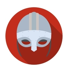 Viking helmet icon in flat style isolated on white vector image vector image