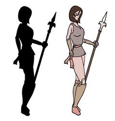warrior woman shadow vector image vector image