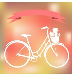 White bicycle on the colorful blured background vector image