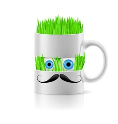 White mug of two parts with grass inside vector