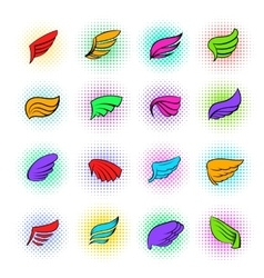 Wings icons set pop-art style vector image