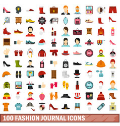 100 fashion journal icons set flat style vector