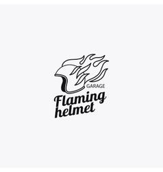 Flaming helmet mono color logotype vector