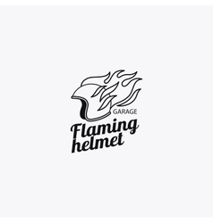 Flaming helmet mono color logotype vector image