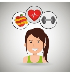 Woman sport health icon vector