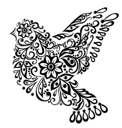 Abstract bird isolated on white hand drawing vector