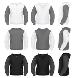 Realistic men hoodie with zipper vector