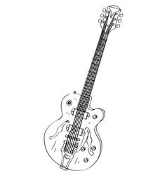 isolated electric guitar outline vector image