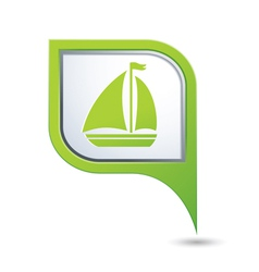 Map pointer with sailboat icon vector
