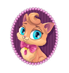 Cute kitty portrait vector