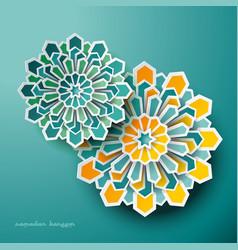 Islamic geometric art greeting ramadan vector