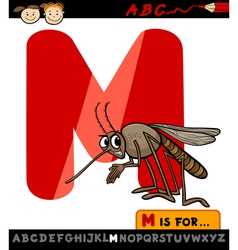 letter m with mosquito cartoon vector image