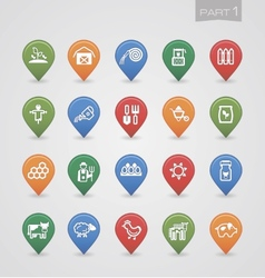 Mapping pins icons farm part 1 vector