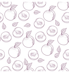 Hand drawn outline peach with slice seamless patte vector