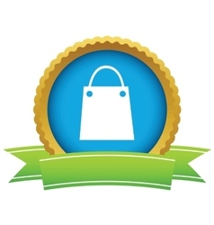 Shopping bag round icon vector