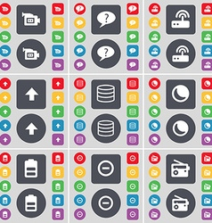 Film camera chat bubble router arrow up database vector