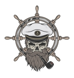 Captain skull in a hat with a beard vector
