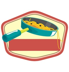 Pasta in pan and banner vector