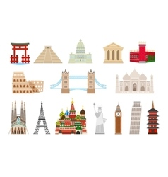 World landmarks icons in flat style vector image