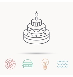 Cake icon birthday delicious dessert sign vector