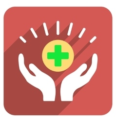 Medical prosperity flat rounded square icon with vector