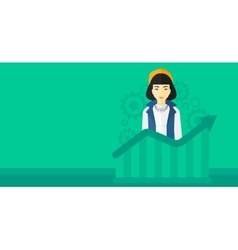 Woman with growing chart vector