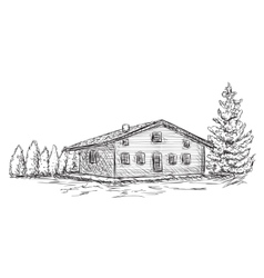 Hand drawn house sketch doodles tree vector