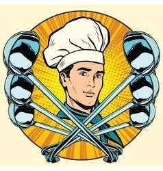 Cook and ladles stylized pop art retro icon vector