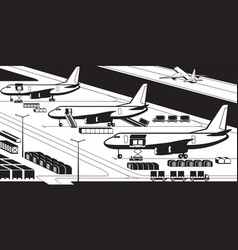airplanes at cargo airport vector image vector image